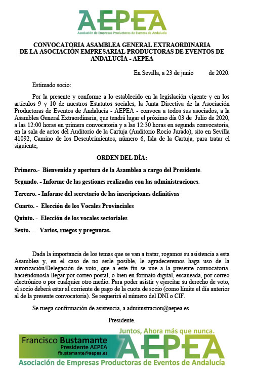 CONVOCATORIA ASAMBLEA GENERAL EXTRAORDINARIA - AEPEA - 3JULIO 2020